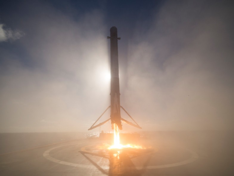 SpaceX rocket first stage landing on barge