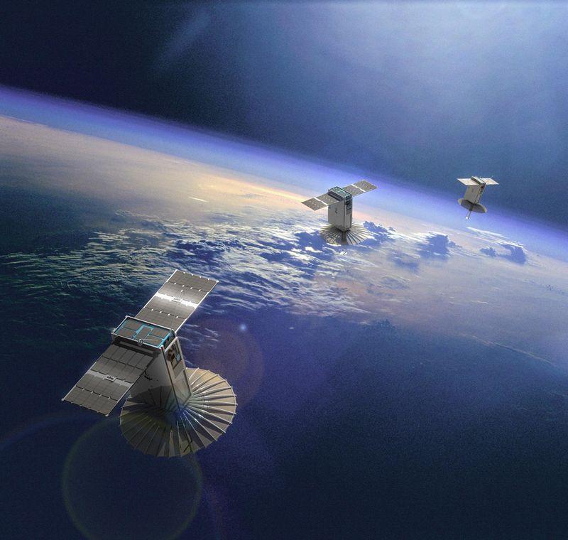 This rendering shows satellites manufactured by Terran Orbital. (Terran Orbital)